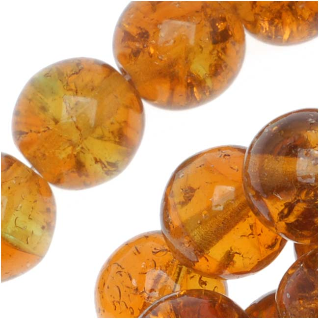 Czech Glass Druk Round Beads 8mm Crackle Topaz/Green (25)