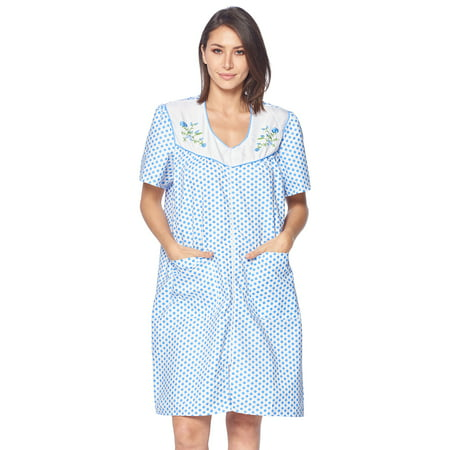 Casual Nights Women's Zipper Front House Dress Short Sleeves Duster Lounger Housecoat Robe, Dots Blue, Small (Short Sleeve Robe Cotton)