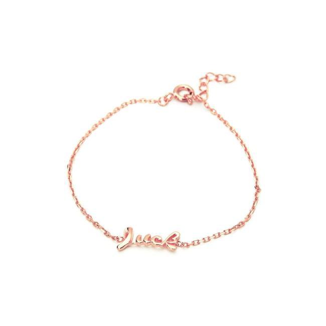 Fronay 212352P 6 in. Slender Cursive Luck Bracelet in Rose Gold Plated 925 Sterling Silver - image 1 de 1
