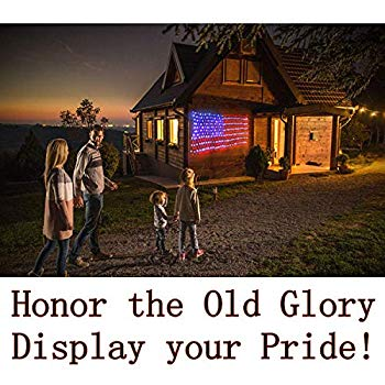 Details about  /American Flag Lights with 420 Super Bright LEDs,KAZOKU Waterproof Led Flag Net