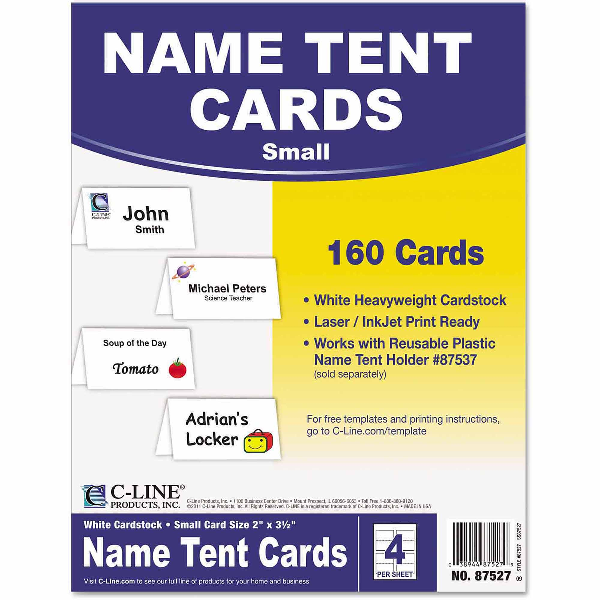"C-Line Scored Tent Cards, White Cardstock, 2"" x 3-1/2"", 4/sheet, 40 sheets/Box"