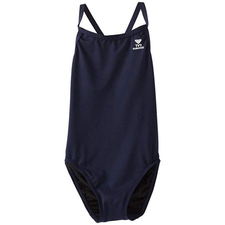 TYR Girl's Durafast Elite Solid Diamondfit Swimsuit (Navy, Size 32) (Tyr Solid Durafast Polyester)