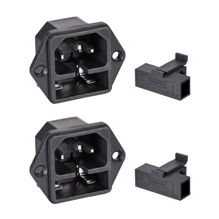 Panel Mount Plug Adapter AC 250V 10A C14 3Pins IEC Inlet Module Plug Power Connector Socket Straight 2