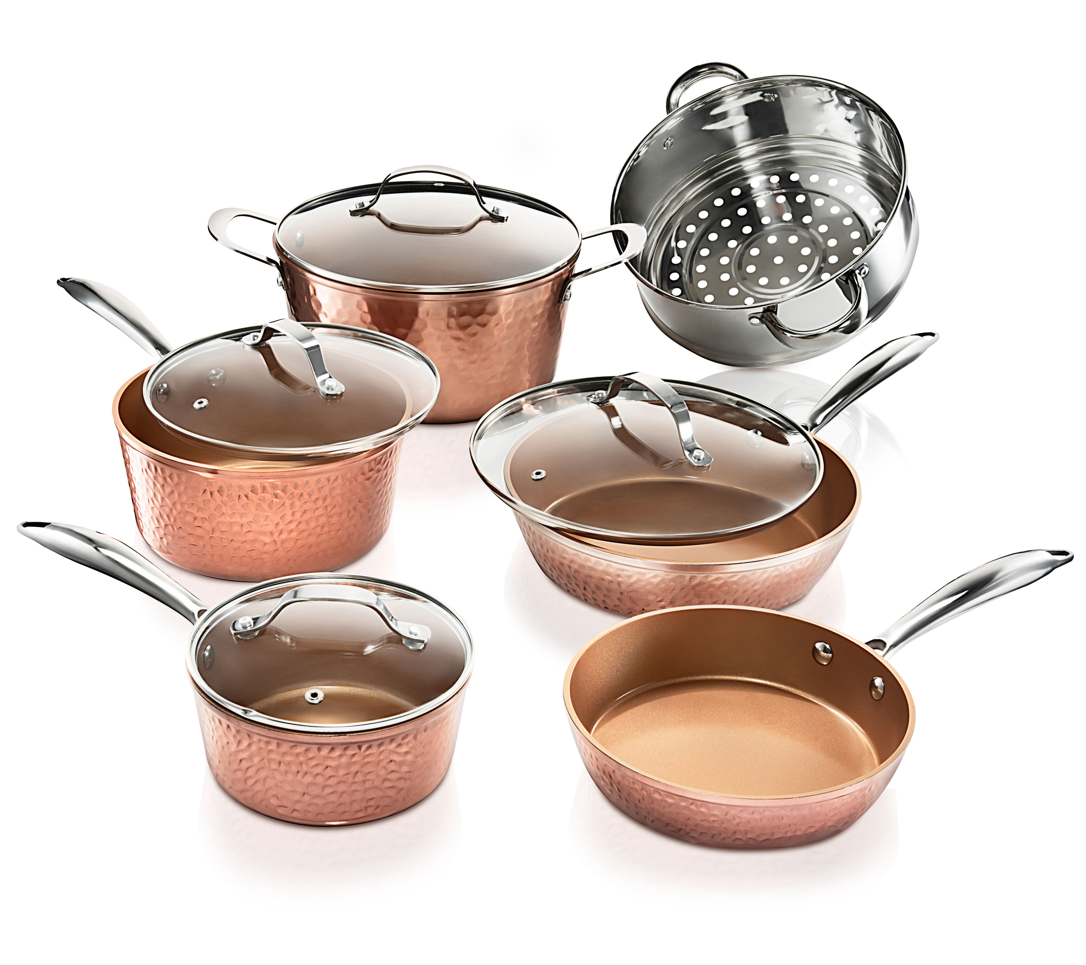Gotham Steel Hammered Collection – 10 Piece Premium Cookware Pots and Pans Set with Triple Coated Nonstick Copper Surface, Oven, Stovetop & Dishwasher Safe