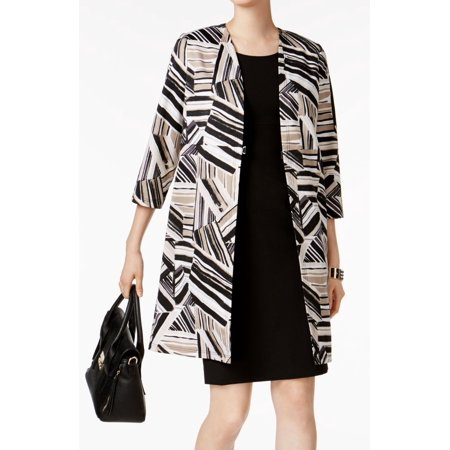 Kasper NEW Beige Black Womens Size 18 Abstract-Print Front-Clasp Coat