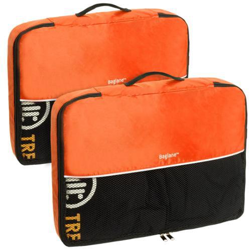 Baglane Orange TechLife Nylon Luggage Travel Packing Cube Bags -2pc Set (Large)