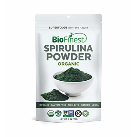 Biofinest Spirulina Powder - 100% Pure Freeze-Dried Vitamins Superfood - USDA Certified Organic Raw Vegan Non-GMO - Boost Digestion Detox Weight Loss - For Smoothie Beverage Blend (4