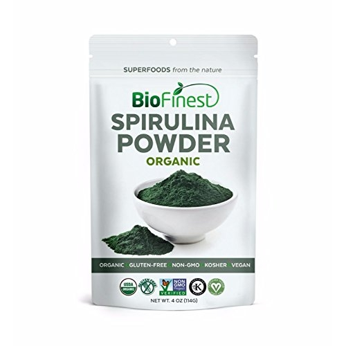 Biofinest Spirulina Powder - 100% Pure Freeze-Dried Vitamins Superfood - USDA Certified Organic Raw Vegan Non-GMO - Boost Digestion Detox Weight Loss - For Smoothie Beverage Blend (4 oz)