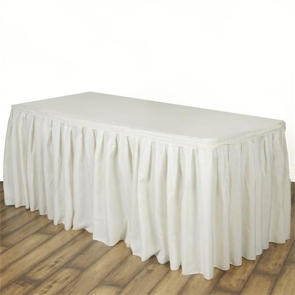 Ivory Polyester Table Skirt 17 Feet