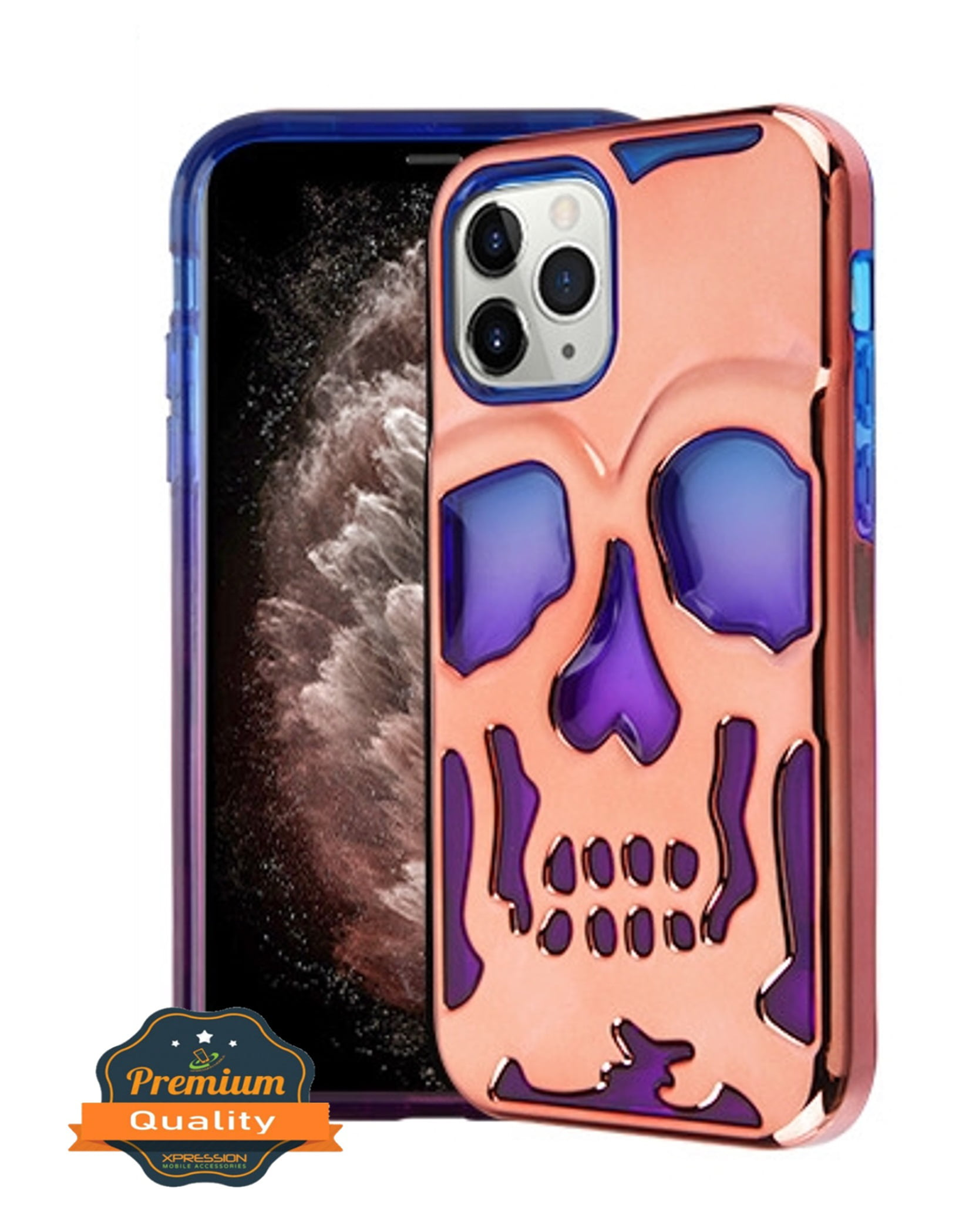 Apple Iphone 11 Pro Phone Case Hybrid Skeleton Shockproof Armor Impact Rubber Dual Layer Hard Soft Tpu Rugged Protective Cover Skull Blue Purple Rose Gold Plating Phone Cover For Apple Iphone 11
