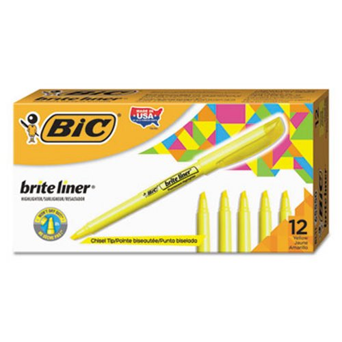 Bic Liner Highlighter, Chisel Tip, Fluorescent Yellow Ink, 1 Dozen (BICBL11YW)