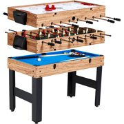 MD Sports 48 Inch 3-In-1 Combo Game Table, 3 Games with Billiards, Hockey and Foosball, accessories included, Brown