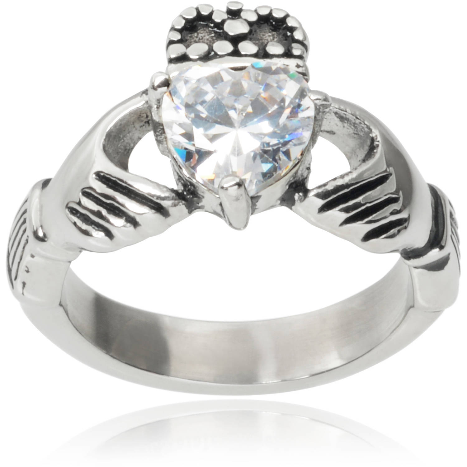 Brinley Co. Stainless Steel 2-5/8 Carat T.G.W. Heart Cubic Zirconia Claddagh Ring