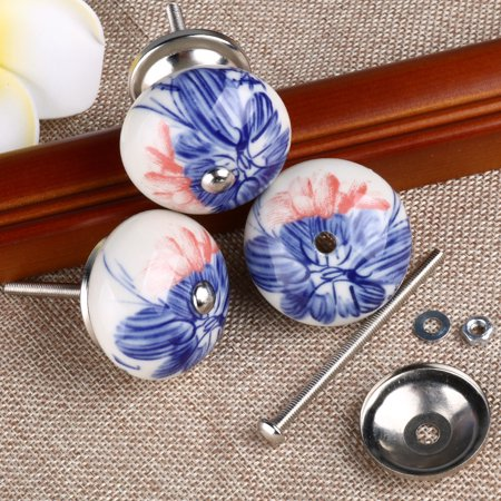 6 Pcs Ceramic Knobs Drawer Pull Cupboard Handles Door Blue and White Banana Leaf - image 3 of 8