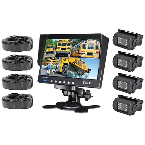 "Pyle PLCMTR74 Weatherproof Backup Camera System with 7"" LCD Color Monitor and 4 IR Night Vision Cameras"