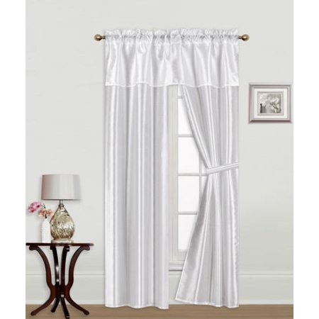 - Knight White 5-Piece Rod Pocket Faux Silk Light Softly Filtering Window Panel Set, 2 Panels, 1 Attached Valance and 2 Tie Backs 54