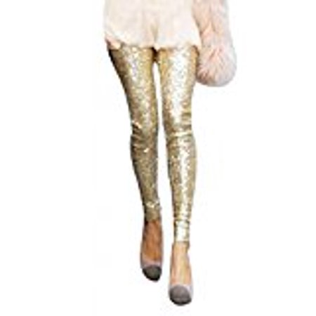 Women`s Winter Bling Sequins Cotton Slim Skinny Leggings Casual Pants Golden (Best Winter Backpacking Pants)