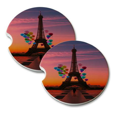 KuzmarK Sandstone Car Drink Coaster (set of 2) - Paris Eiffel Tower - Paris Coaster Set
