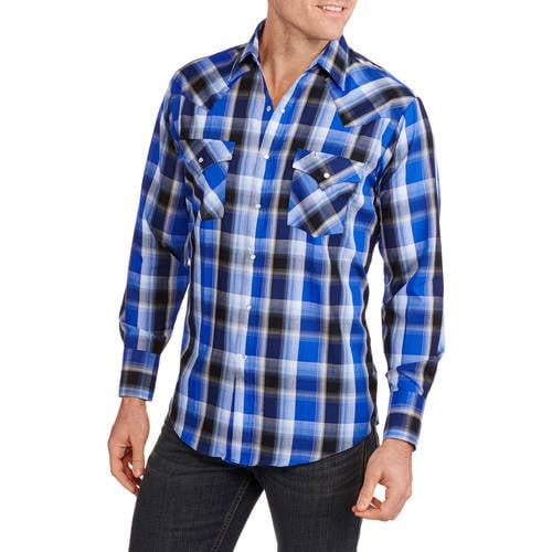 plains big s sleeve easy care plaid western shirt