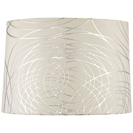Springcrest Off-White White Drum Lamp Shade Modern Silver Circles 15x16x11 - Spider ()