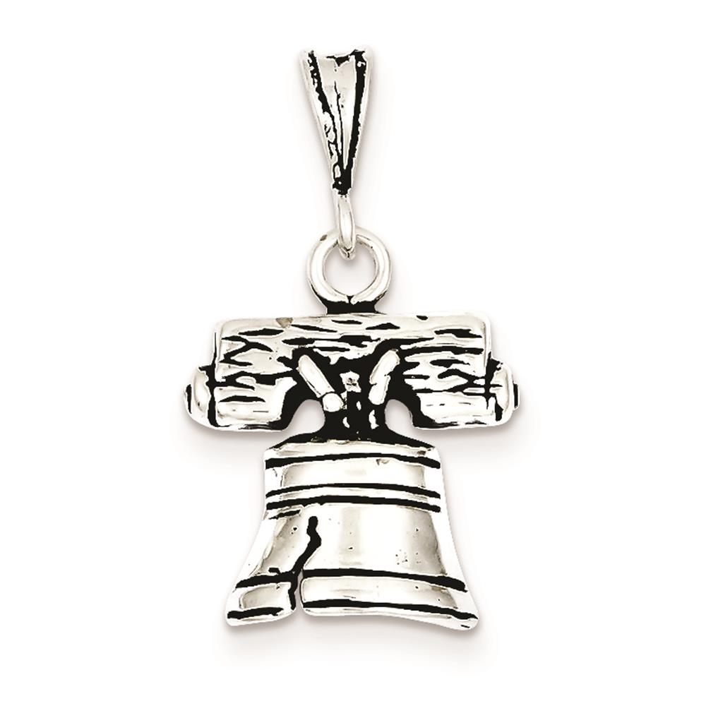 925 Sterling Silver Antiqued Bell Open-back Charm Pendant 20mm x 16mm