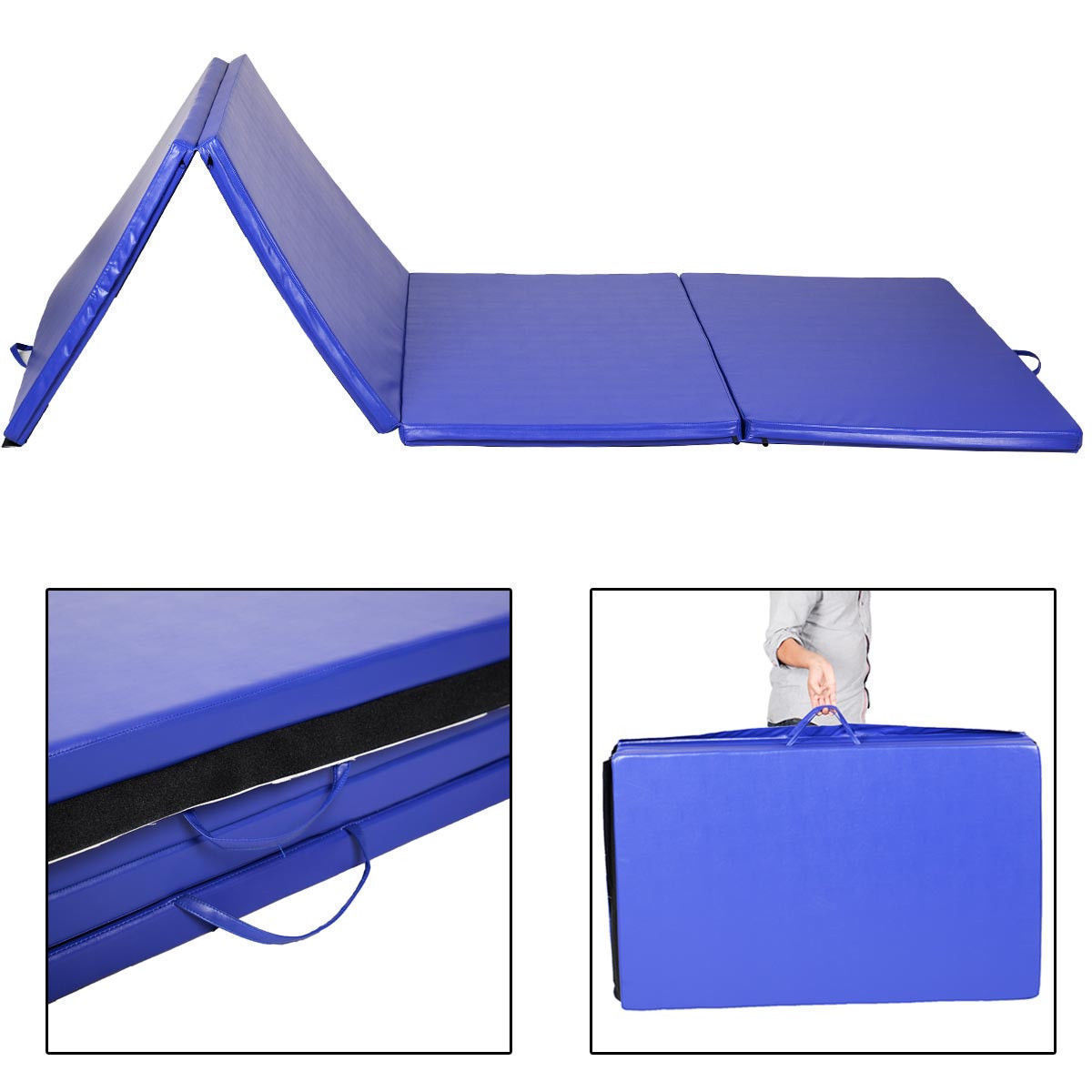 "Costway 4'x10'x2"" Folding Gymnastics Gym Exercise Mats Blue Stretching Yoga Mat Blue by Yoga Videos"