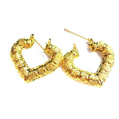 Bamboo Heart Earrings Gold Tone Heart 1.25 inch Hoops (Gold Tone Bamboo)