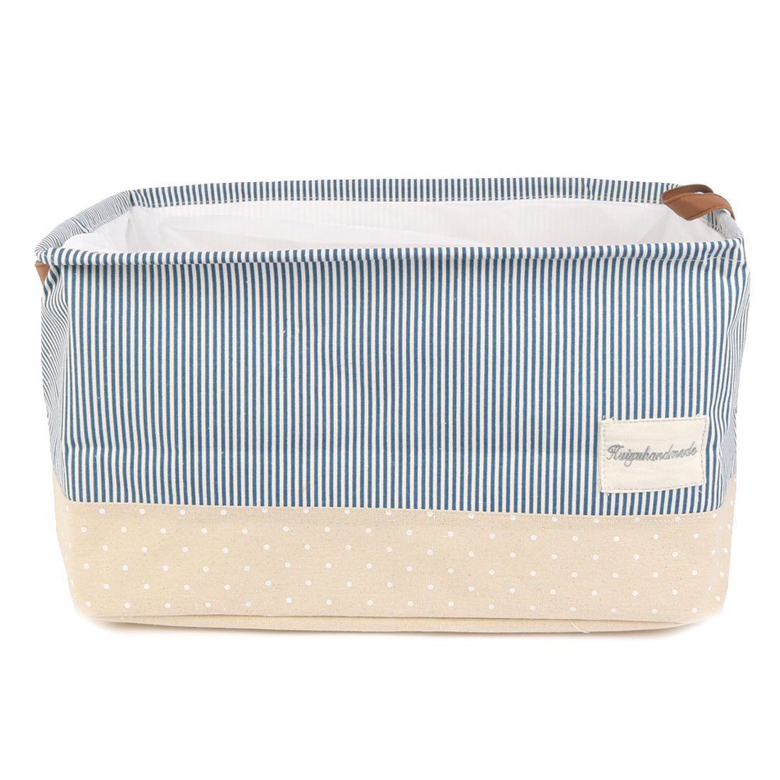 Home Rectangular Fabric Storage Basket Bin Box Organizer with Handle Blue Stripe XXL