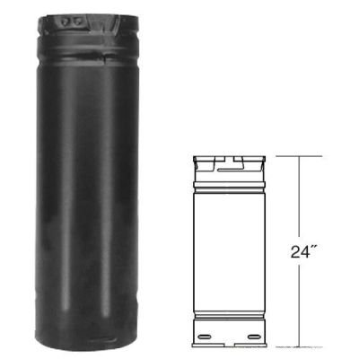Black Pellet Vent Pipe - 3  x 24  Diameter: 3. Construction Materials: Laser-welded, double-wall pipe with an inner wall of .012 stainless steel and a .018 laser-welded galvalume outer wall. Clearances: 1 clearance to combustibles in the USA for appliances using wood pellets or oil. 1 clearance to combustibles in Canada for oil-burning (type L vent) appliances. 3 clearance to combustibles in Canada for wood pellet-burning appliances. Listings: c-UL-us Listed to UL 641 (MH8381 and MH14420). ULC Listed to ULC S609, ULC/ORD C441 (CMH1439 and CMH1440). Twist-lock connection. Painted black finish. PelletVent Pro pipe features fully unitized twist-lock construction in 3 and 4 diameters. Listed at 1 clearance to combustibles, in the USA, it can be used in both vertical and horizontal installations. Made from 304 stainless steel welded seam inner wall, combined with a galvalume welded seam outer wall for wood pellet, corn, oil fuel, and biofuel burning appliances. Pipe OD is diameter + 5/8. PelletVent Pro is a venting system designed for stoves and inserts that use wood pellets and oil fuel. It is also built to vent corn and other biofuel products (Rated for continuous use flue temperatures up to 570 degrees F). PelletVent Pro is a revolutionary concept for venting both pellet and corn-burning stoves and inserts. As a result of Dura-Vent's cutting edge manufacturing process and commitment to innovation, PelletVent Pro is uncompromised in attention to detail and performance. The precise twist -lock connection requires no gaskets or sealants to achieve leak-resistant connections. PelletVent Pro's perfect fit and finish is made possible with laser-welded stainless steel inner walls and galvalume outer walls which results in a clean, streamline appearance. Today, approximately 3 out of every 4 pellet stoves in the US and Canada are vented with a Dura-Vent pellet system.