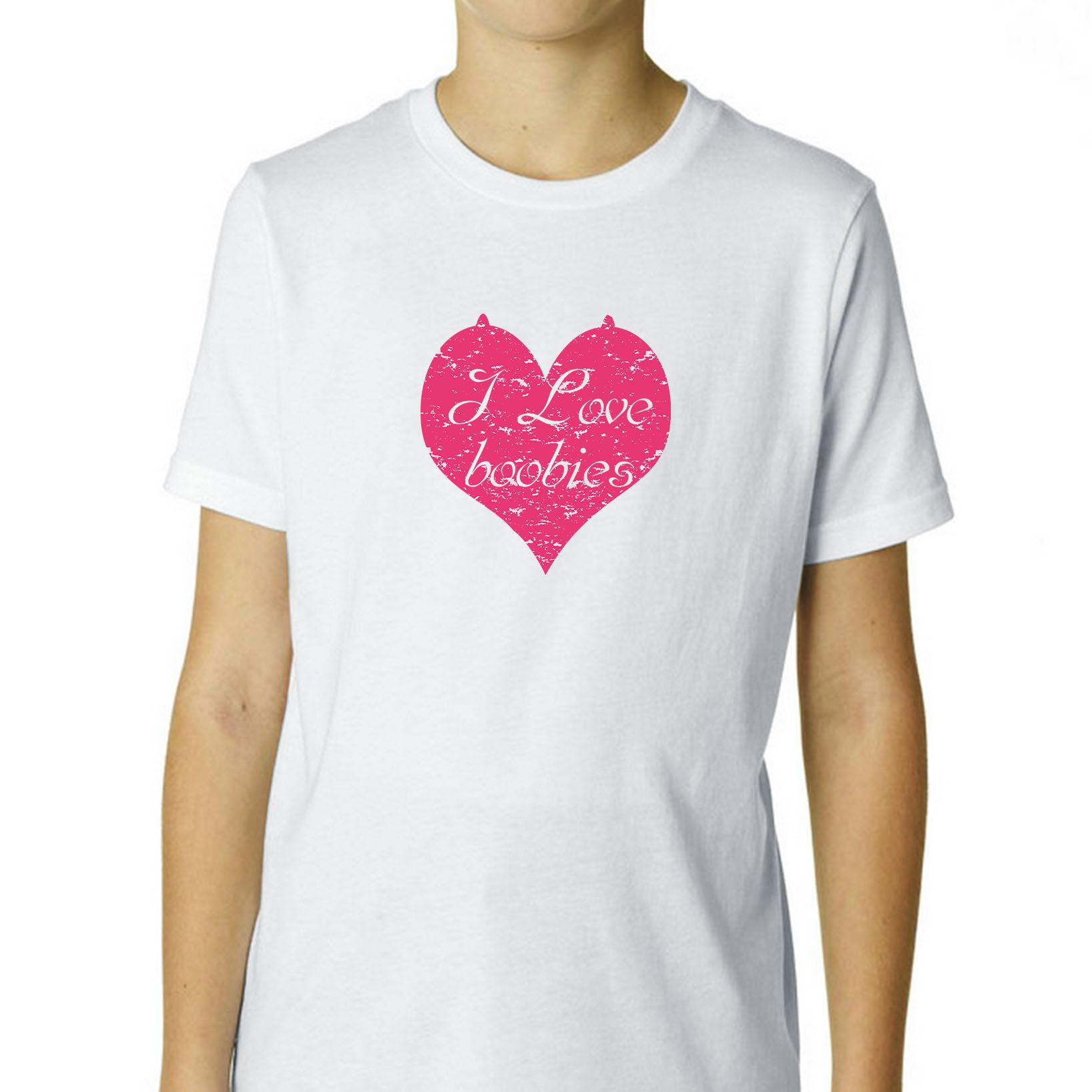 I Love Boobies - Pink Heart with Nipples Boy's Cotton Youth T-Shirt