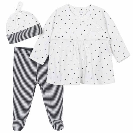 Gerber Baby Girl Gray and Pink Nature Take Me Home Snap Shirt, Footed Pants & Cap, 3pc Outfit Set Infant Side Snap Shirts