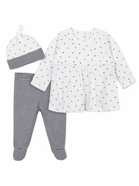 Gerber Baby Girl Take Me Home Snap Shirt, Footed Pants & Cap, 3pc Outfit Set