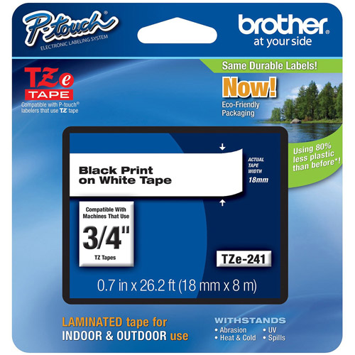 Brother TZE241 18mm Laminated Tape, Black on White