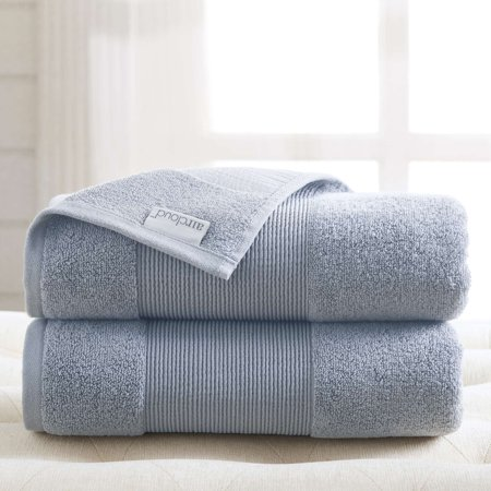 AirCloud 100% Cotton 2 Piece Luxury Oversized Bath Sheet - Wedgewood Blue Retreat Bath Sheet