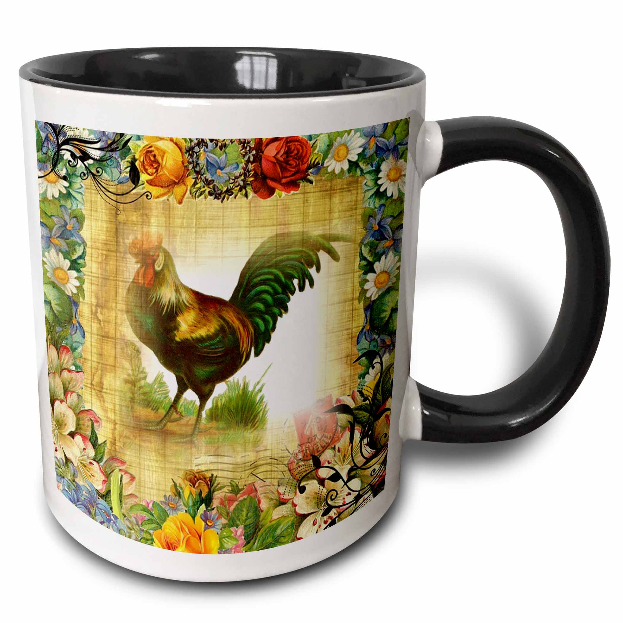3dRose Image of Country Rooster On Flowered Old Postcard - Two Tone Black Mug, 11-ounce