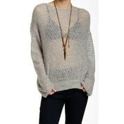 Free People NEW Gray Women's Size Medium M Sheer Crewneck Sweater