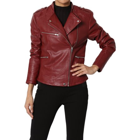 Themogan Juniors Quilted Edge Stand Collar Faux Leather Moto Jacket