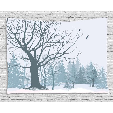 Apartment Decor Tapestry, Winter Theme A Tree without Leaves in the Snowy Forest and Flying Birds, Wall Hanging for Bedroom Living Room Dorm Decor, 60W X 40L Inches, Grey White, by Ambesonne - Winter Themes