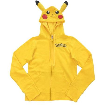 Pokemon Pikachu Zip-Up Hoodie Sweatshirt with Ears   S (Pikachu Hoodie For Sale)