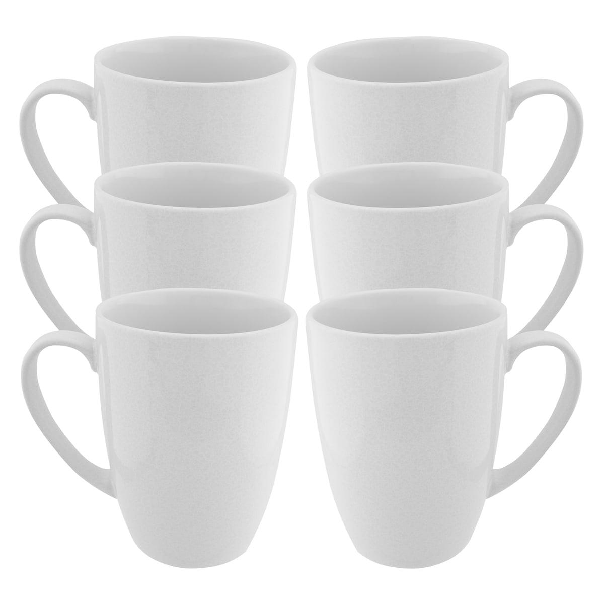 Fuse 6 Pack White Coffee Mug With Handles Set Glazed Ceramic Mug