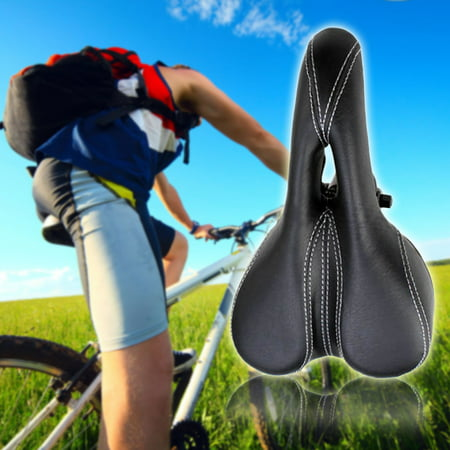 (Sunrain Bike Seat Cushion Leather Bike Seat Bicycle Saddle Sport Cycling Saddle Seat for travelling and riding)