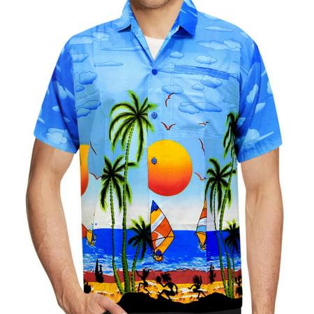 56a388696 LA LEELA - LA LEELA Likre Men's Hawaiian Shirt Bright Blue 249 X-Small    Chest 36