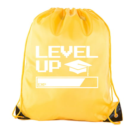 Senior Graduation Drawstring Backpacks Personalized Party Favor Cinch Bags - Level Up - Maroon And Gold Graduation Decorations