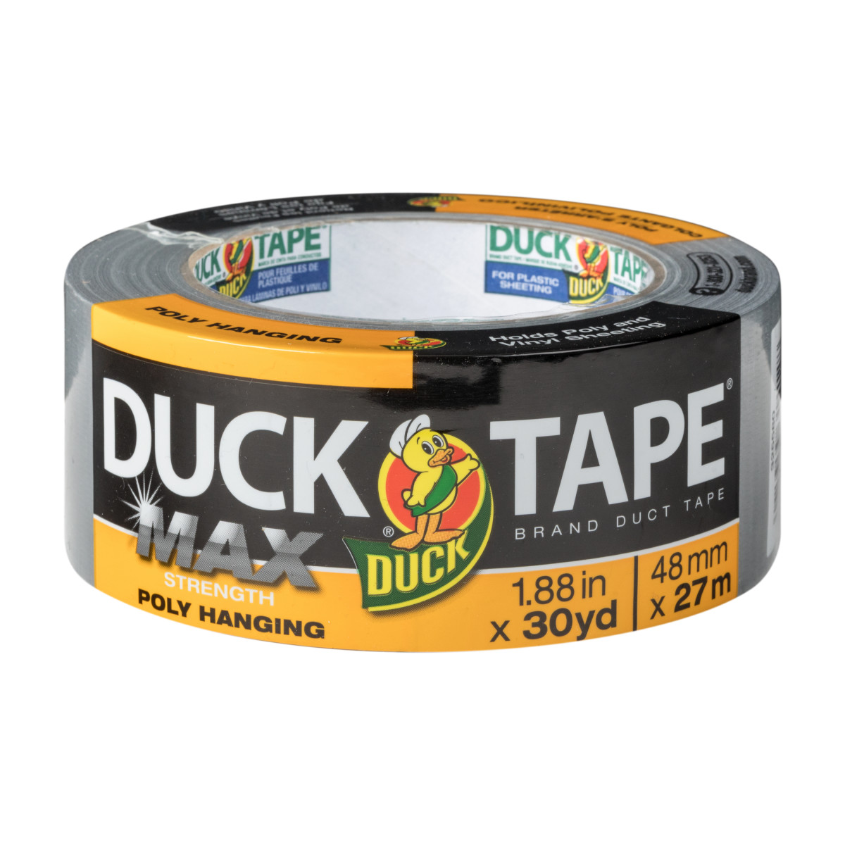 Duck Max Strength Poly Hanging Duct Tape, Silver, 1.88 in. x 30 yd.