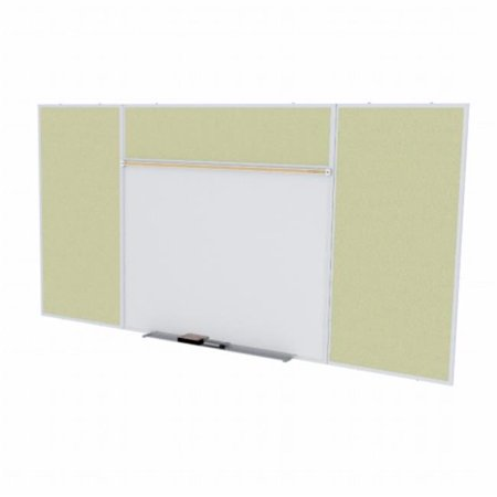 4 ft. x 10 ft. Style E Combination Unit - Porcelain Magnetic Whiteboard and Vinyl Fabric Tackboard - Caramel