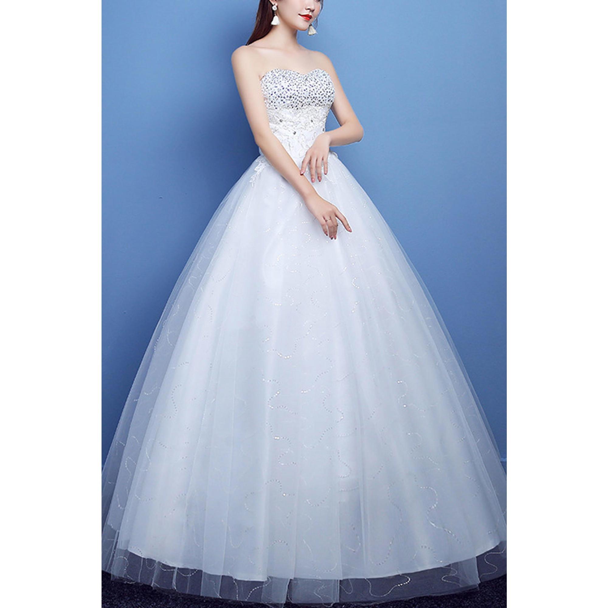 418421841c Juniors Strapless Sequin Bust Ball Gown Wedding Dress