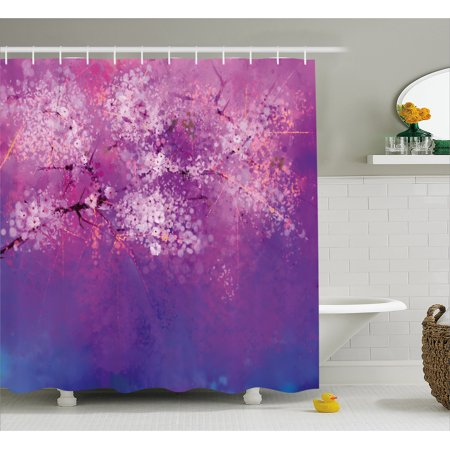 Flower Shower Curtain Asian Anese Cherry Blossom With Hazy Paint Eastern Oriental Art