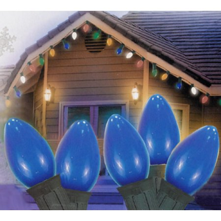 25 Ceramic Style Opaque Blue Led Retro Style C7 Christmas Lights   Green Wire