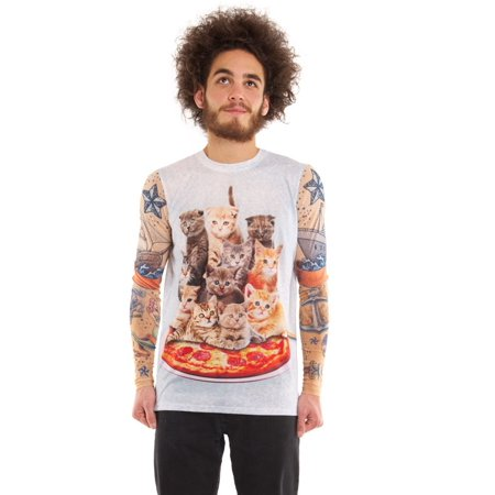 Mens Cat Tank With Tattoo Sleeves Tee Shirt With Tattoo Mesh Long Sleeves