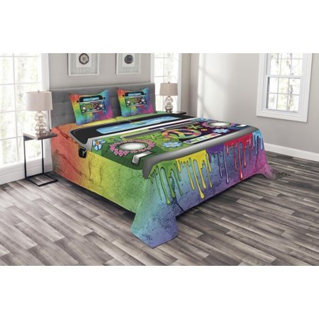 Groovy Bedspread Set, Old Style Hippie Van with Dripping Rainbow Paint Mid 60s Youth Revolution Movement Theme, Decorative Quilted Coverlet Set with Pillow Shams Included, Multi, by - Groovy Theme